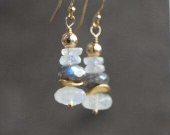 Moonstone Dangle Earrings in Silver or Gold