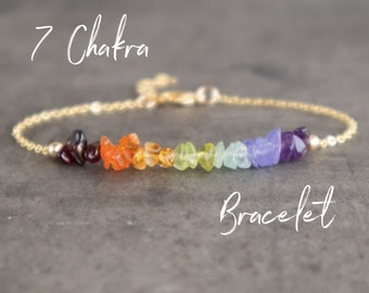 7 Chakra Bracelet in Gold, Rose Gold Fill or Sterling Silver
