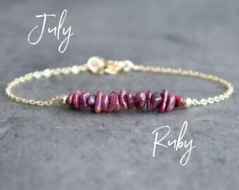 Raw Ruby Bracelet - July Birthstone