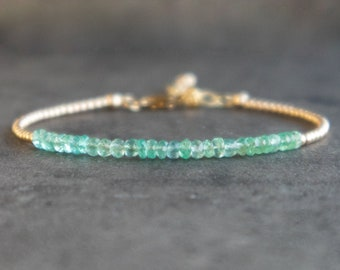 Emerald Bracelet in Sterling Silver, Rose or Gold Filled - May Birthstone