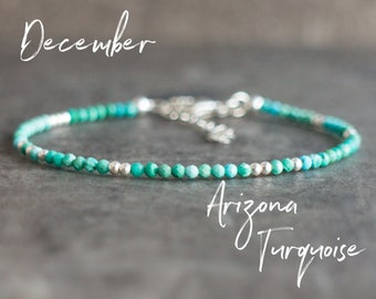 Arizona Turquoise Bracelet, Wedding Gifts, December Birthday Gift for Her, Dainty Stacking Bracelets in Sterling Silver or Gold Filled