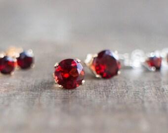 Garnet Stud Earrings - January Birthstone