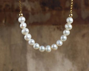 Beaded Freshwater Pearl Necklace, June Birthstone Gifts for Her, Simple Bridal Necklace, Wife Gift
