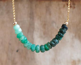 Raw Emerald Necklace, May Birthstone Jewelry Gift for Women, Ombre Green Layering Necklace