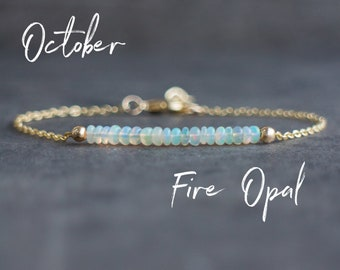 Fire Opal Bracelet - October Birthstone Bracelet