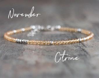 Skinny Citrine Bracelet - November Birthstone