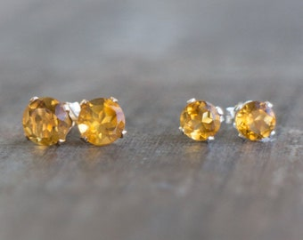 Citrine Stud Earrings - November Birthstone
