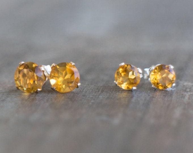 Featured listing image: Citrine Stud Earrings - November Birthstone