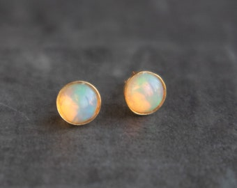 Fire Opal Bezel Set Stud Earrings in 24K Gold Vermeil