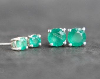 Emerald Silver Stud Earrings - May Birthstone