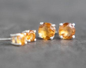 Citrine Silver Stud Earrings - November Birthstone