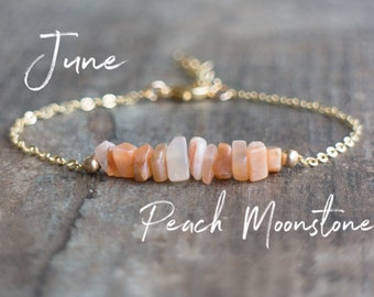 Raw Peach Moonstone Bracelet