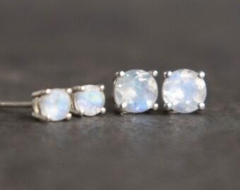 Rainbow Moonstone Stud Earrings in Sterling Silver - June Birthstone