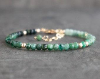 Ombre Emerald Bracelet - May Birthstone