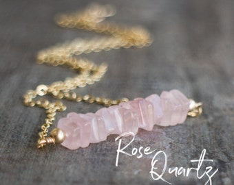Square Bar Necklace - Rose Quartz