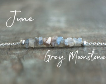Grey Moonstone Necklace - June Birthstone