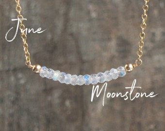 Rainbow Moonstone Necklace, Gemstone Necklace, Bar Necklace, June Birthday Gift for Her, Moonstone Jewelry, June Birthstone Necklace