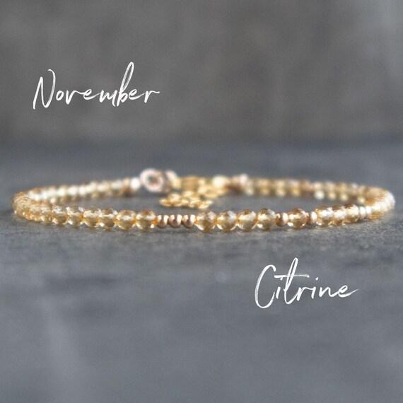Chain bracelet Gold filled bracelet Layering bracelet Citrine jewelry Citrine bracelet Gift for her Gold bracelet Minimalist bracelet