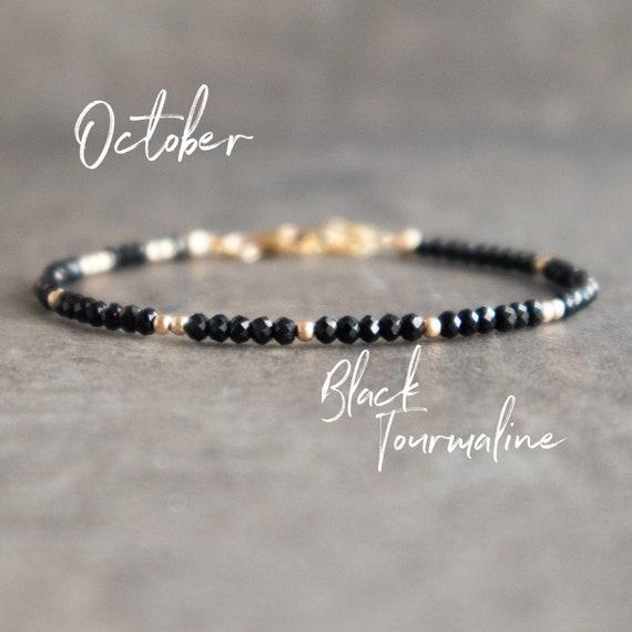 Black Tourmaline Bracelet Silver Stackable Bracelets Womens Gift Black Tourmaline Jewelry October Birthstone Beaded Bracelets