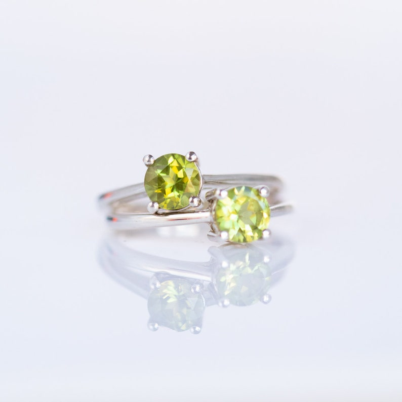 Green Stone Rings for Women Peridot Ring Natural Stone Ring Sterling Silver Ring Ring Size 5 6 7 8 August Birthstone Rings