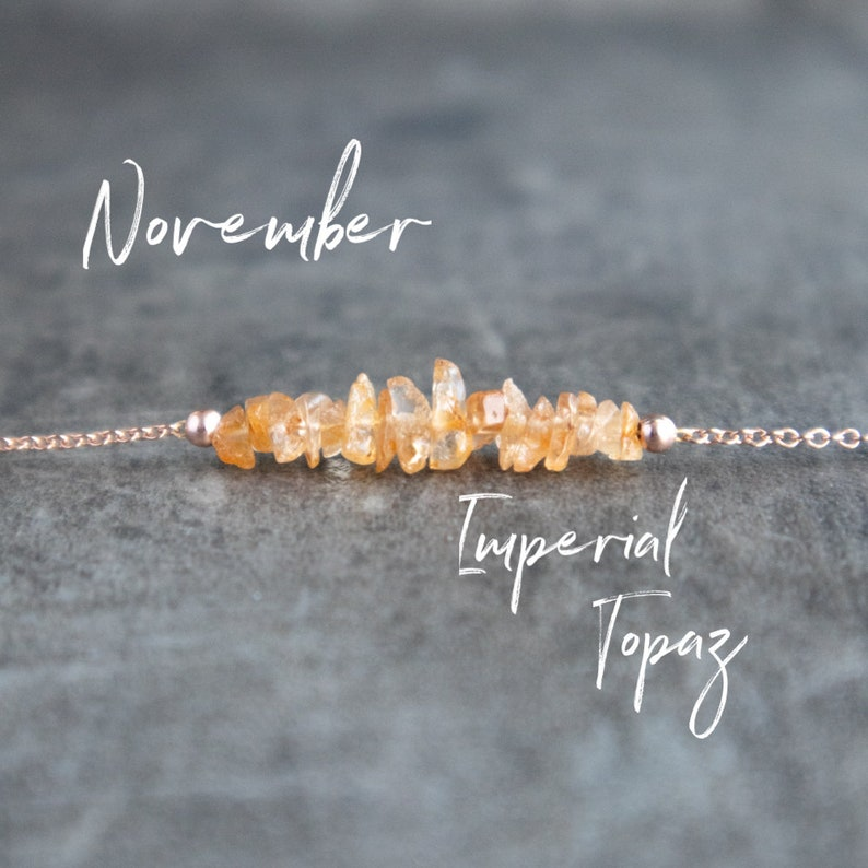 Raw Topaz Necklace November Birthstone Necklace Imperial image 0