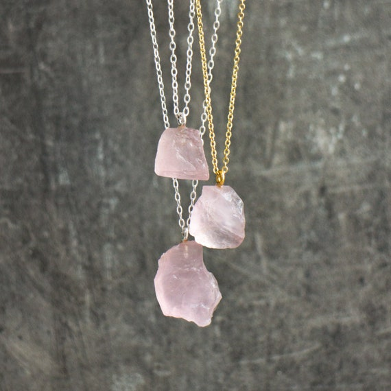 Birth Stones Raw Rose Quartz Necklace Rose Quartz Pendant Healing Stones Wire Wrapped