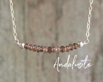 Andalusite Necklace, Gemstone Necklace, Delicate Necklace, Gift for Her, Seeing Stone, Andalusite Jewelry, Bar Necklace, Chakra Necklace