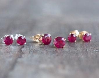 Ruby Stud Earrings, Gift for Wife, Genuine Ruby Jewelry, Ruby Earrings Studs, Dainty Earrings, Gemstone Ear Studs, July Birthstone