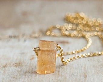 Tiny Raw Topaz Necklace