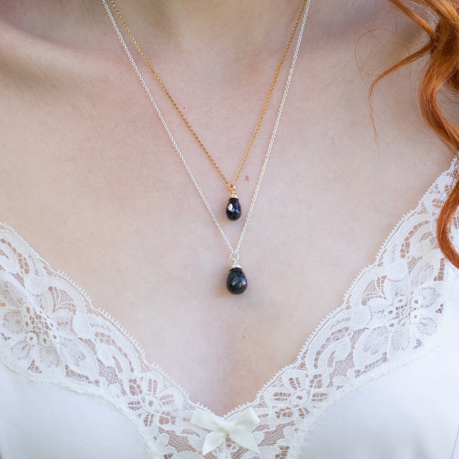 """Blue Sapphire Necklace Faceted Chain 18 19 /"""" 14k Gold filled or Sterling Silver"""
