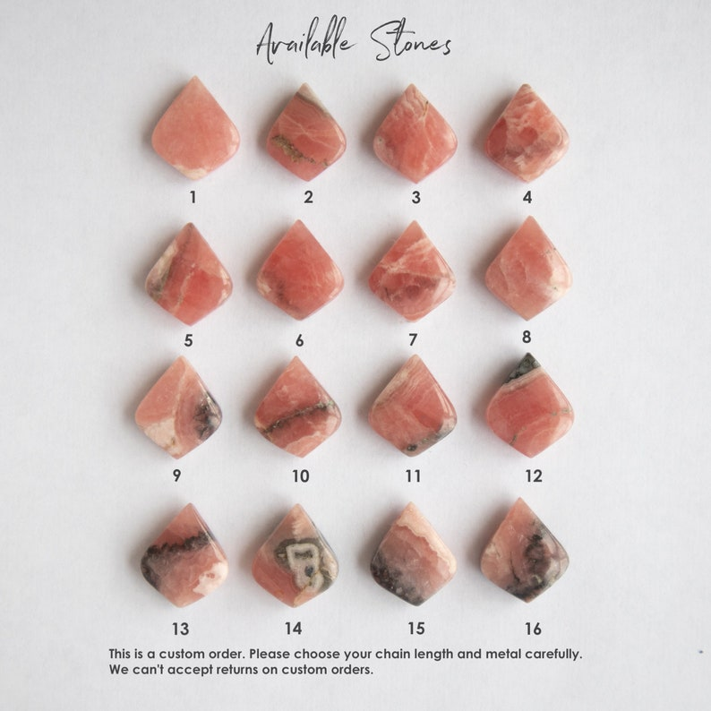 Rhodocrosite Necklace Necklaces for Women Pink Necklace Gift for Her Gemstone Pendant Rhodochrosite Jewelry