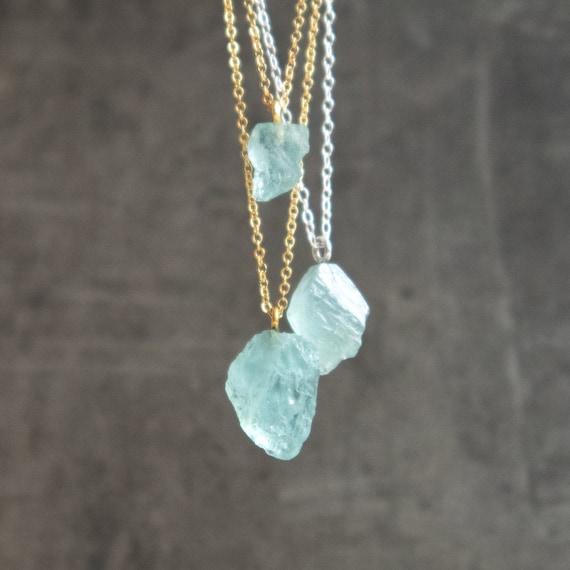 Pale Blue Aquamarine  Raw Crystal Necklace  Natural Aquamarine  Aquamarine  Pendant  Aquamarine Necklace  Dainty Stone Necklace