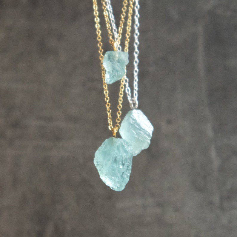 Raw Aquamarine Necklace Raw Crystal Necklace March image 0