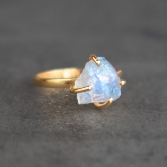 Gift Ring 18K Yellow Gold Plated Sterling Silver Rainbow Moonstone Birthstone Ring Wedding Ring Size 4 to 15 Mother/'s Day Gift Ring