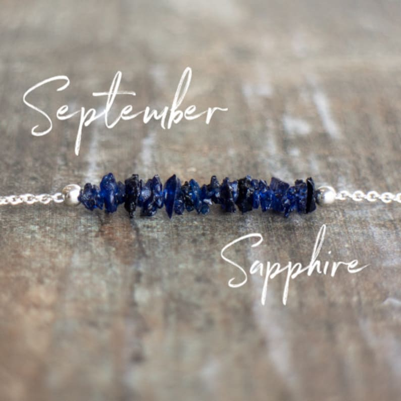 Raw Sapphire Bar Necklace September Birthstone Jewelry Gift image 0