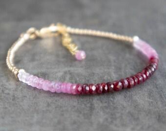 Ruby Bracelet in Rose Gold & Silver, Ruby Jewelry, July Birthstone Bracelet, Ombré Gemstone Beaded Bracelets for Women, Stackable Bracelets
