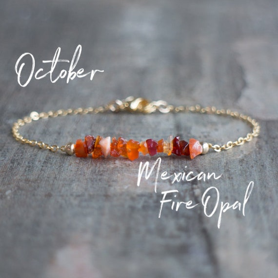 Mexican Fire Opal Bracelet Raw Crystal Jewelry October
