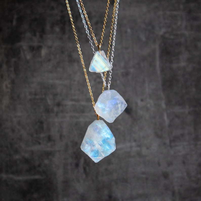 Raw Moonstone Necklace Crystal Necklace Rainbow Moonstone image 0