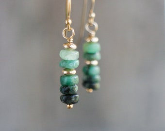 Raw Emerald Earrings, Gift for Her, Mothers Day, Gold&Silver Earrings, Gemstone Dangle Earrings, May Birthstone Jewelry, Green Drop Earrings