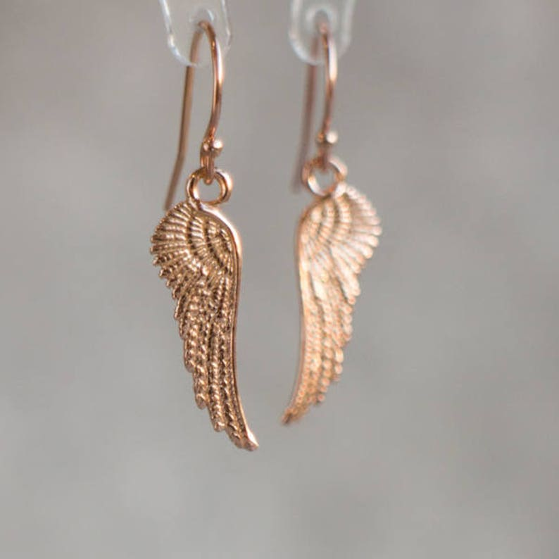 f04cfe6605f97 Angel Wings Earrings in Rose Gold, Gift for Bridesmaids