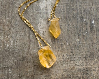 Raw Citrine Necklace, Crystal Necklace, Raw Stone Necklace, Gift for Her, November Birthstone Necklace, Healing Crystal, Citrine Pendant