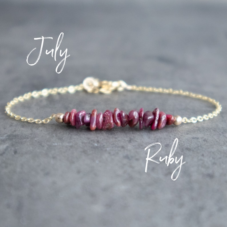 Raw Ruby Crystal Bracelet, July Birthstone Bracelet Healing Stone Jewelry,  Birthday Gift for Girlfriend, 15th and 40th Anniversary Gift