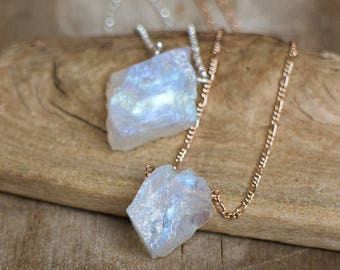 Raw Moonstone Necklace, Crystal Necklace, Rainbow Moonstone Pendant, Large Raw Moonstone Jewelry, June Birthstone Necklace Silver or Gold
