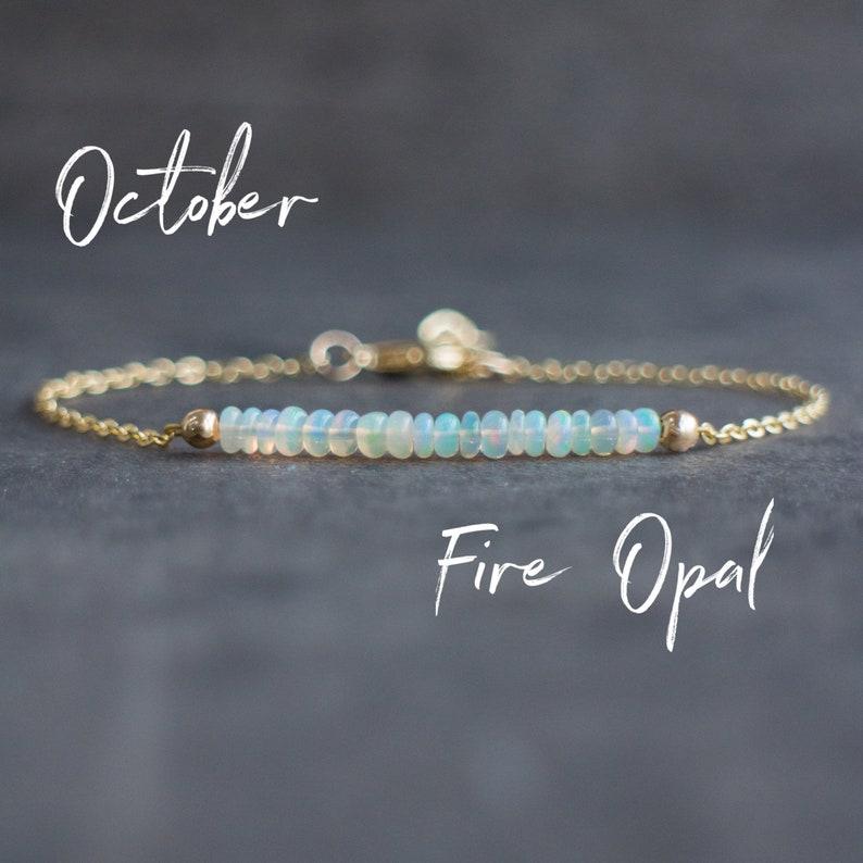 October Birthday Gifts Dainty Fire Opal Bracelet In Sterling