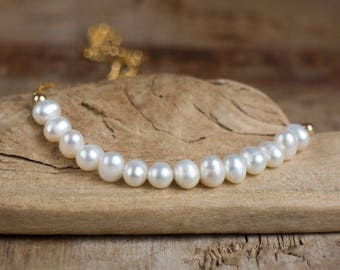 Pearl Bar Necklace, Wedding Necklace, Gift for Her, Bridal Necklace, Freshwater Pearl, Beaded White Pearl Necklace, June Birthstone Necklace