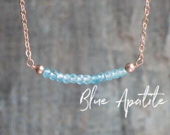 Apatite Necklace, Bridesmaid Gifts, Gemstone Necklace, Something Blue Necklace, Blue Apatite Jewelry, Bar Necklace, Delicate Necklace, Boho