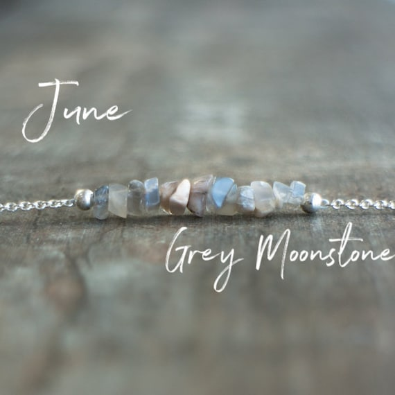 Grey Moonstone Necklace, June Birthstone Necklace, Bridesmaids Gifts For Her, Crystal Choker, Chakra Necklace, Bar Necklace, Birthday Gifts by Etsy