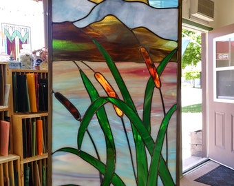 Sunset on the Bay large stained glass panel.