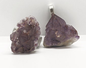 Protection Empath Stone Psychic Set In Clay to provide smooth back Pineal Gland Healing #590 Auralite Cluster Crystal Healing Pendant