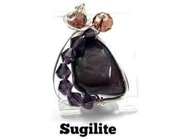 Cute Sugilite Archangel Michael Crystal Healing Pendant: Swarovski Beads,  Charged with Archangel Michaels Energy, Protection, Wisdom #253